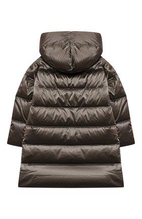 Детское пуховое пальто FREEDOMDAY бронзового цвета, арт. IFRJG870AB-782-RD | Фото 2 (Рукава: Длинные; Материал внешний: Синтетический материал; Материал утеплителя: Пух и перо; Материал подклада: Синтетический материал; Девочки Кросс-КТ: Пуховик-верхняя одежда; Кросс-КТ: Сезон: зима)