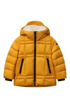 Детского пуховая куртка FREEDOMDAY желтого цвета, арт. IFRJB910AB-163-RD | Фото 1 (Материал утеплителя: Пух и перо; Материал подклада: Синтетический материал; Материал внешний: Синтетический материал; Рукава: Длинные; Мальчики Кросс-КТ: Пуховик-верхняя одежда; Кросс-КТ: Сезон: зима)