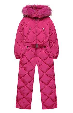 Детский пуховый комбинезон FREEDOMDAY фуксия цвета, арт. IFRJG816AB-121-RDRFCF | Фото 1 (Материал внешний: Синтетический материал; Материал утеплителя: Пух и перо; Рукава: Длинные; Материал подклада: Синтетический материал; Девочки Кросс-КТ: Комбинезон-верхняя одежда)