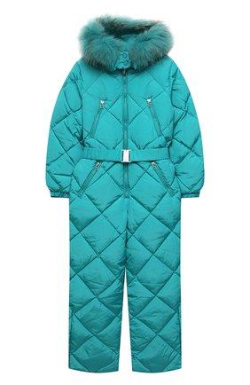 Детский пуховый комбинезон FREEDOMDAY бирюзового цвета, арт. IFRJG816AB-121-RDRFCF | Фото 1 (Рукава: Длинные; Материал подклада: Синтетический материал; Материал утеплителя: Пух и перо; Материал внешний: Синтетический материал; Девочки Кросс-КТ: Комбинезон-верхняя одежда)