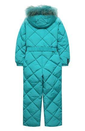 Детский пуховый комбинезон FREEDOMDAY бирюзового цвета, арт. IFRJG816AB-121-RDRFCF | Фото 2 (Рукава: Длинные; Материал подклада: Синтетический материал; Материал утеплителя: Пух и перо; Материал внешний: Синтетический материал; Девочки Кросс-КТ: Комбинезон-верхняя одежда)