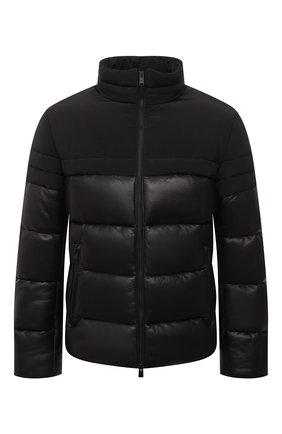 Мужская кожаная куртка BOSS черного цвета, арт. 50456301 | Фото 1 (Длина (верхняя одежда): Короткие; Рукава: Длинные; Кросс-КТ: Куртка; Мужское Кросс-КТ: пуховик-короткий, Кожа и замша; Стили: Кэжуэл)