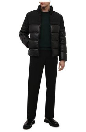 Мужская кожаная куртка BOSS черного цвета, арт. 50456301 | Фото 2 (Длина (верхняя одежда): Короткие; Рукава: Длинные; Кросс-КТ: Куртка; Мужское Кросс-КТ: пуховик-короткий, Кожа и замша; Стили: Кэжуэл)