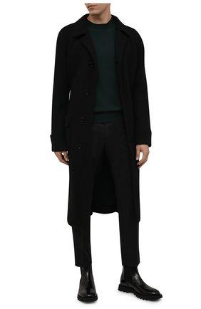 Мужские шерстяные брюки DOLCE & GABBANA темно-серого цвета, арт. GY6IET/FR2TE | Фото 2 (Материал внешний: Шерсть; Длина (брюки, джинсы): Стандартные; Случай: Формальный; Стили: Классический)