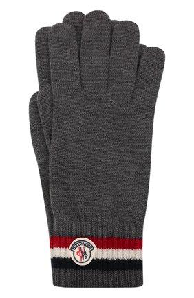 Мужские шерстяные перчатки MONCLER темно-серого цвета, арт. G2-091-3A000-04-A9575 | Фото 1 (Материал: Шерсть; Кросс-КТ: Трикотаж)