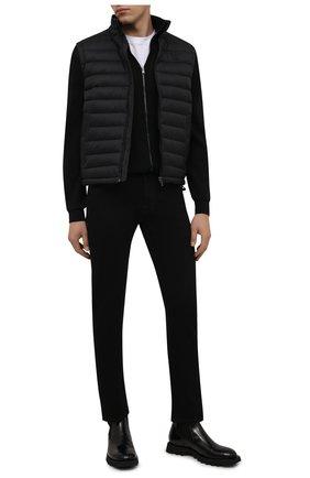 Мужские джинсы MOORER черного цвета, арт. PAVEL-PS709/M0UDE100008-TEPA391 | Фото 2 (Материал внешний: Хлопок; Длина (брюки, джинсы): Стандартные; Кросс-КТ: Деним; Силуэт М (брюки): Прямые; Стили: Кэжуэл)