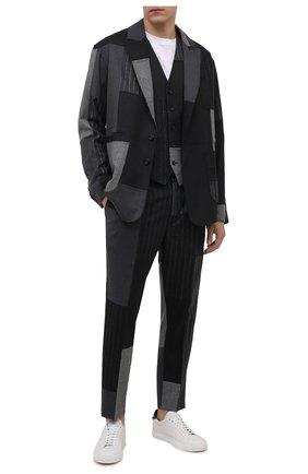 Мужской жилет DOLCE & GABBANA серого цвета, арт. G702UT/GES55   Фото 2 (Длина (верхняя одежда): Короткие; Материал внешний: Шерсть; Материал подклада: Синтетический материал; Мужское Кросс-КТ: Жилет-классика; Стили: Классический)