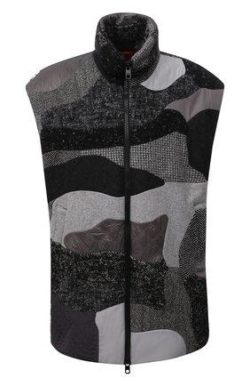 Мужской утепленный жилет DOLCE & GABBANA серого цвета, арт. G9WK1T/GEW06 | Фото 1 (Длина (верхняя одежда): До середины бедра; Материал подклада: Синтетический материал; Материал внешний: Шерсть, Синтетический материал; Кросс-КТ: Куртка; Стили: Кэжуэл)