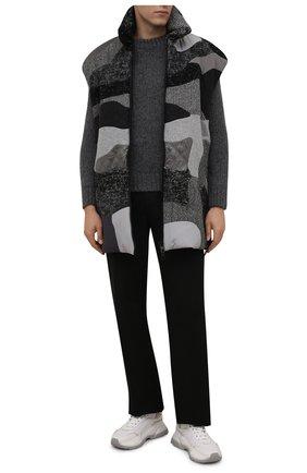 Мужской утепленный жилет DOLCE & GABBANA серого цвета, арт. G9WK1T/GEW06 | Фото 2 (Длина (верхняя одежда): До середины бедра; Материал подклада: Синтетический материал; Материал внешний: Шерсть, Синтетический материал; Кросс-КТ: Куртка; Стили: Кэжуэл)