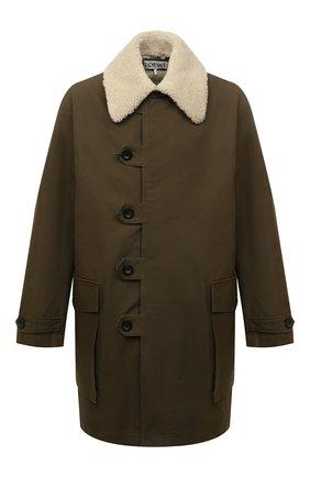 Мужская хлопковая парка LOEWE хаки цвета, арт. H526Y02W09 | Фото 1 (Материал внешний: Хлопок; Рукава: Длинные; Длина (верхняя одежда): До середины бедра; Материал подклада: Синтетический материал; Кросс-КТ: Куртка; Стили: Милитари)