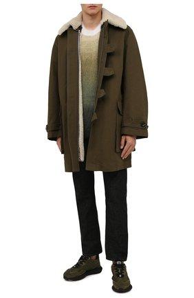Мужская хлопковая парка LOEWE хаки цвета, арт. H526Y02W09 | Фото 2 (Материал внешний: Хлопок; Рукава: Длинные; Длина (верхняя одежда): До середины бедра; Материал подклада: Синтетический материал; Кросс-КТ: Куртка; Стили: Милитари)
