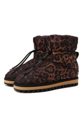 Мужские текстильные сапоги city boots DOLCE & GABBANA леопардового цвета, арт. CS1909/A0841 | Фото 1 (Подошва: Массивная; Материал внешний: Текстиль; Материал внутренний: Текстиль; Мужское Кросс-КТ: Сапоги-обувь)