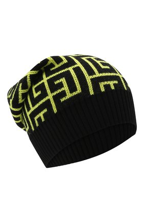 Мужская шерстяная шапка BALMAIN светло-зеленого цвета, арт. WH2XC005/K054 | Фото 1 (Материал: Шерсть; Кросс-КТ: Трикотаж)