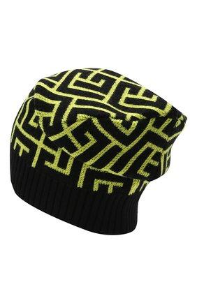 Мужская шерстяная шапка BALMAIN светло-зеленого цвета, арт. WH2XC005/K054 | Фото 2 (Материал: Шерсть; Кросс-КТ: Трикотаж)