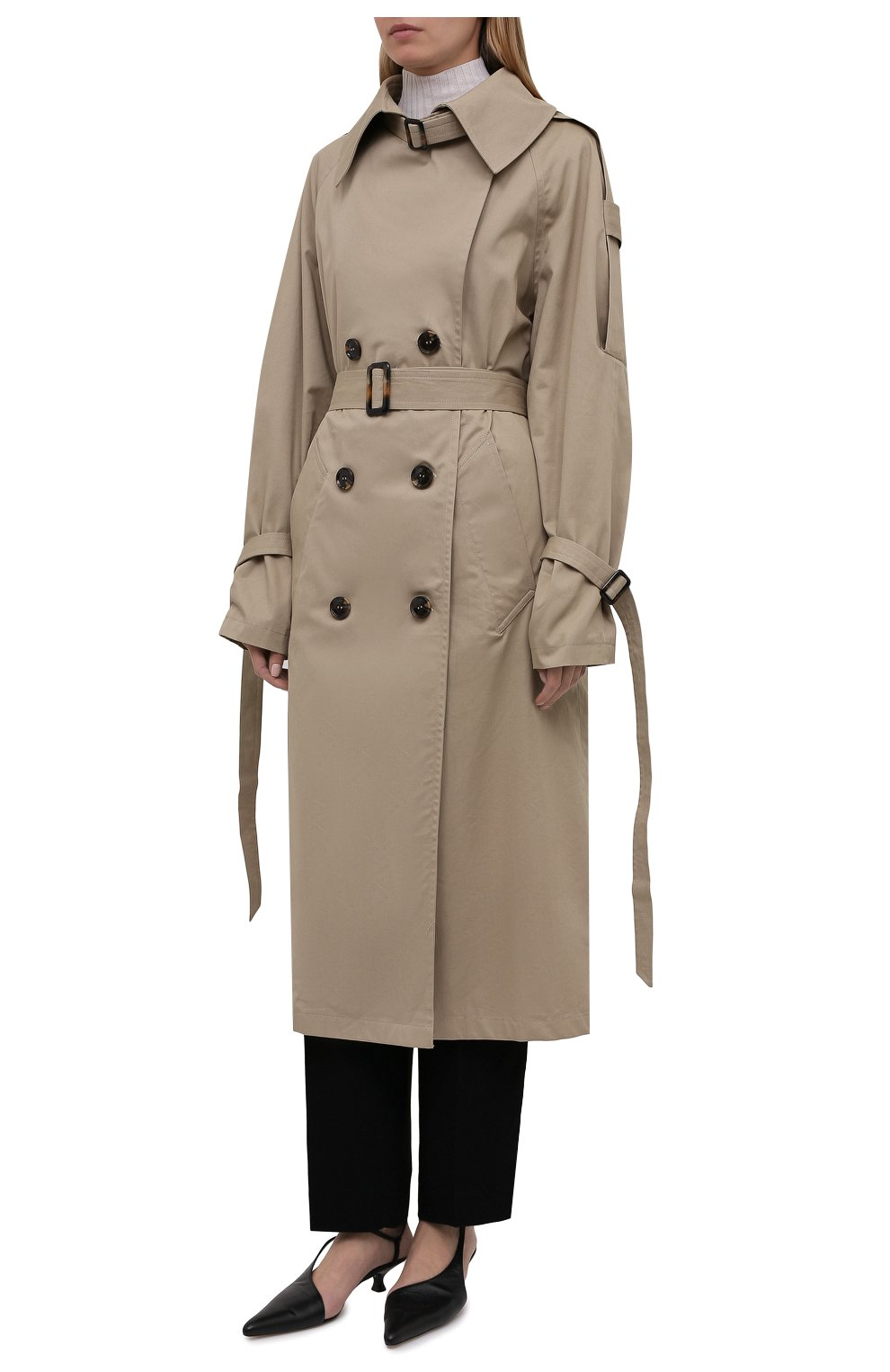 Женский хлопковый тренч 404 NOT FOUND | бежевого цвета, арт. 801603 | Фото 3 (Рукава: Длинные; Материал внешний: Хлопок; Длина (верхняя одежда): Длинные; Стили: Кэжуэл)