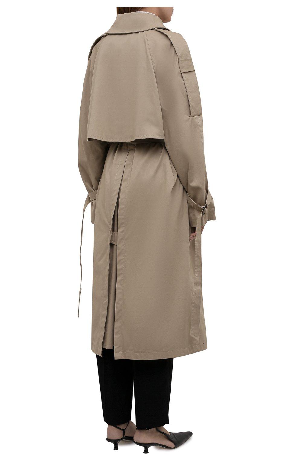 Женский хлопковый тренч 404 NOT FOUND | бежевого цвета, арт. 801603 | Фото 4 (Рукава: Длинные; Материал внешний: Хлопок; Длина (верхняя одежда): Длинные; Стили: Кэжуэл)