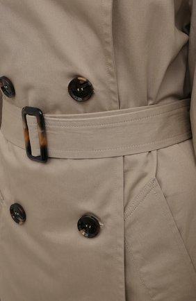 Женский хлопковый тренч 404 NOT FOUND | бежевого цвета, арт. 801603 | Фото 5 (Рукава: Длинные; Материал внешний: Хлопок; Длина (верхняя одежда): Длинные; Стили: Кэжуэл)