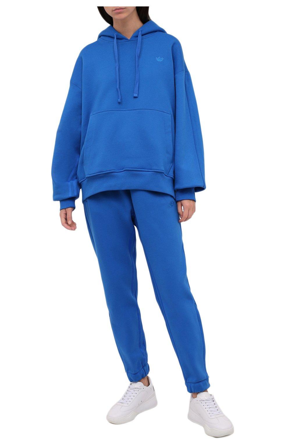 Женский хлопковое худи ADIDAS ORIGINALS синего цвета, арт. H33459   Фото 2 (Рукава: Длинные; Длина (для топов): Стандартные; Женское Кросс-КТ: Худи-спорт, Худи-одежда; Материал внешний: Хлопок; Стили: Спорт-шик)