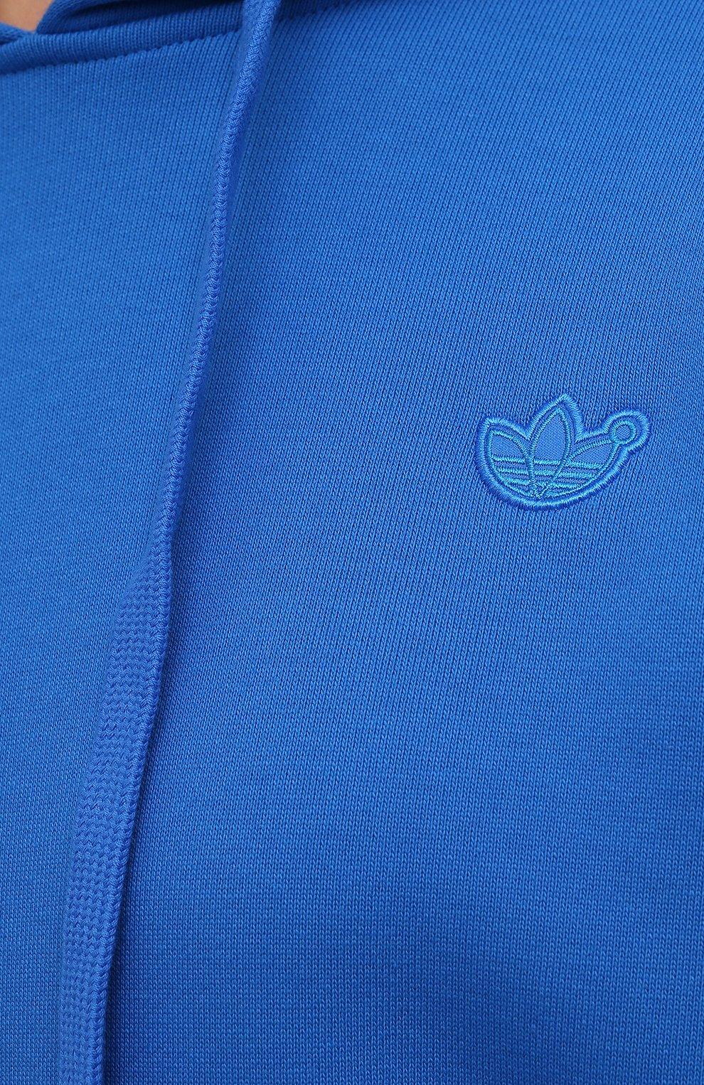 Женский хлопковое худи ADIDAS ORIGINALS синего цвета, арт. H33459   Фото 5 (Рукава: Длинные; Длина (для топов): Стандартные; Женское Кросс-КТ: Худи-спорт, Худи-одежда; Материал внешний: Хлопок; Стили: Спорт-шик)