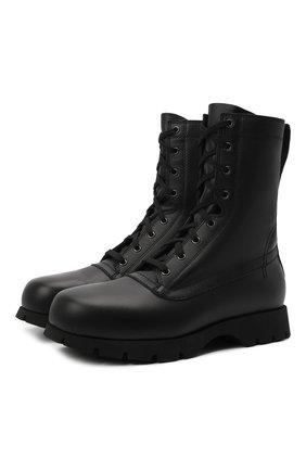 Женские кожаные ботинки JIL SANDER черного цвета, арт. JS37266A-14172 | Фото 1 (Каблук высота: Низкий; Подошва: Платформа; Материал внутренний: Натуральная кожа; Женское Кросс-КТ: Военные ботинки)