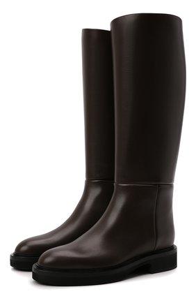 Женские кожаные сапоги derby KHAITE темно-коричневого цвета, арт. F1007-722/DERBY   Фото 1 (Материал внутренний: Натуральная кожа; Подошва: Платформа; Высота голенища: Средние; Каблук высота: Низкий; Каблук тип: Устойчивый)