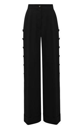 Женские брюки из вискозы и шерсти DOLCE & GABBANA черного цвета, арт. FTB33T/FU3AB | Фото 1 (Длина (брюки, джинсы): Удлиненные; Материал внешний: Шерсть, Вискоза; Женское Кросс-КТ: Брюки-одежда; Силуэт Ж (брюки и джинсы): Расклешенные; Стили: Кэжуэл)