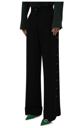 Женские брюки из вискозы и шерсти DOLCE & GABBANA черного цвета, арт. FTB33T/FU3AB | Фото 3 (Длина (брюки, джинсы): Удлиненные; Материал внешний: Шерсть, Вискоза; Женское Кросс-КТ: Брюки-одежда; Силуэт Ж (брюки и джинсы): Расклешенные; Стили: Кэжуэл)