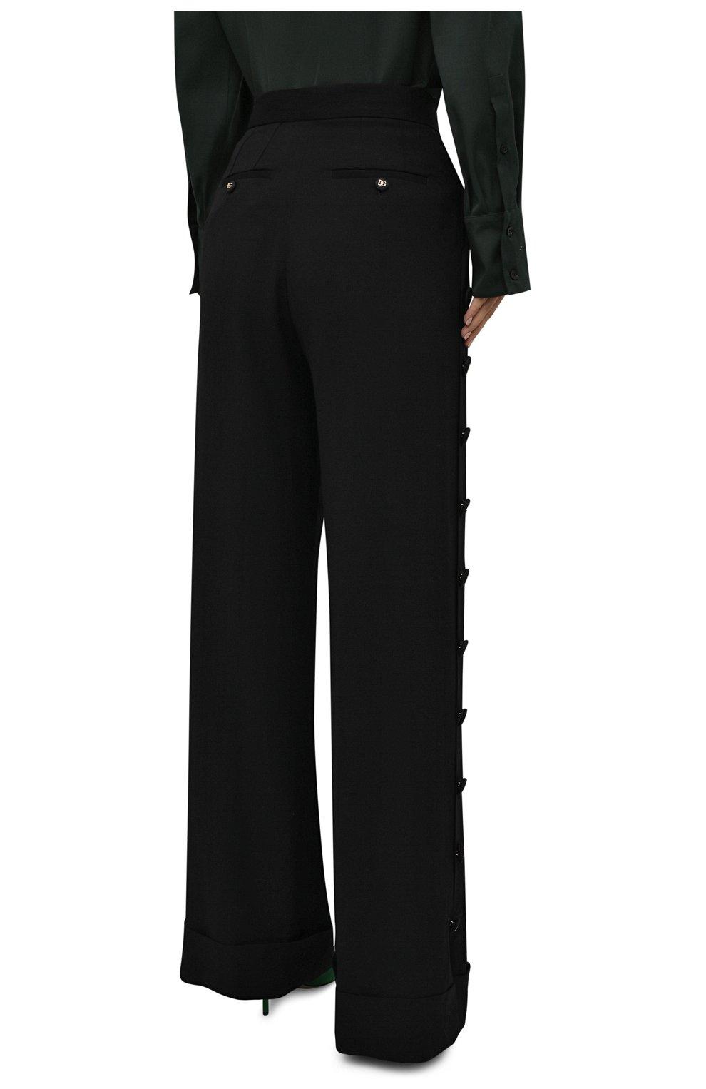 Женские брюки из вискозы и шерсти DOLCE & GABBANA черного цвета, арт. FTB33T/FU3AB | Фото 4 (Длина (брюки, джинсы): Удлиненные; Материал внешний: Шерсть, Вискоза; Женское Кросс-КТ: Брюки-одежда; Силуэт Ж (брюки и джинсы): Расклешенные; Стили: Кэжуэл)