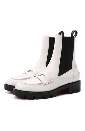 Женские кожаные ботинки montezu lug CHRISTIAN LOUBOUTIN белого цвета, арт. 3210995/M0NTEZU LUG FLAT | Фото 1 (Материал внутренний: Натуральная кожа; Подошва: Платформа; Каблук высота: Низкий; Женское Кросс-КТ: Челси-ботинки)