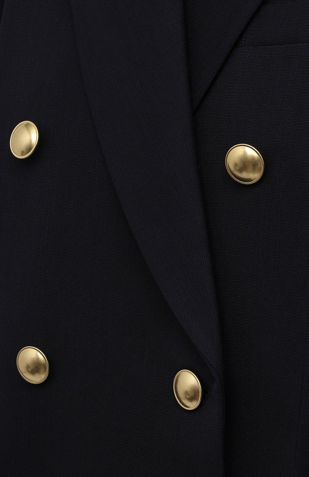 Женский шерстяной жакет VICTORIA BECKHAM темно-синего цвета, арт. 1521WJK003025B | Фото 5 (Материал внешний: Шерсть; Рукава: Длинные; Длина (для топов): Удлиненные; Стили: Классический; Случай: Формальный; Материал подклада: Вискоза; 1-2-бортные: Двубортные; Женское Кросс-КТ: Жакет-одежда)