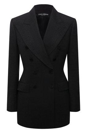 Женский шерстяной жакет DOLCE & GABBANA темно-серого цвета, арт. F29CRT/FQBAL | Фото 1 (Рукава: Длинные; Длина (для топов): Удлиненные; Материал внешний: Шерсть; Материал подклада: Шелк; Женское Кросс-КТ: Жакет-одежда; 1-2-бортные: Двубортные; Стили: Классический; Случай: Формальный)