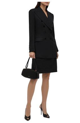 Женский шерстяной жакет DOLCE & GABBANA темно-серого цвета, арт. F29CRT/FQBAL | Фото 2 (Рукава: Длинные; Длина (для топов): Удлиненные; Материал внешний: Шерсть; Материал подклада: Шелк; Женское Кросс-КТ: Жакет-одежда; 1-2-бортные: Двубортные; Стили: Классический; Случай: Формальный)