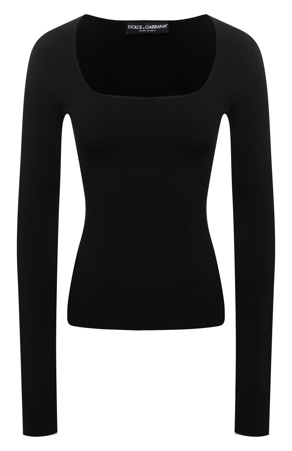 Женский пуловер DOLCE & GABBANA черного цвета, арт. FXD44T/JBMR9 | Фото 1 (Рукава: Длинные; Длина (для топов): Стандартные; Материал внешний: Вискоза; Женское Кросс-КТ: Пуловер-одежда; Стили: Минимализм)