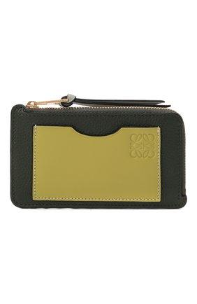 Женский кожаный футляр для кредитных карт LOEWE темно-зеленого цвета, арт. C660Z40X04   Фото 1