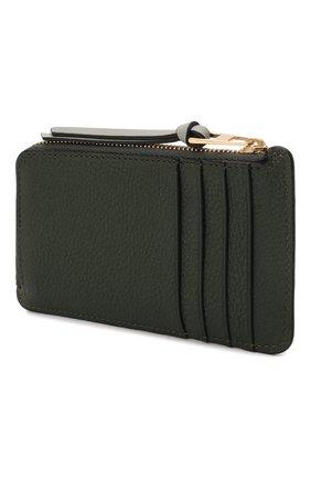 Женский кожаный футляр для кредитных карт LOEWE темно-зеленого цвета, арт. C660Z40X04   Фото 2