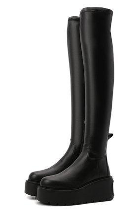 Женские ботфорты hdu VALENTINO черного цвета, арт. WW2S0CG3/HDU   Фото 1 (Материал внутренний: Натуральная кожа; Подошва: Платформа; Материал внешний: Экокожа; Высота голенища: Высокие; Каблук тип: Танкетка)