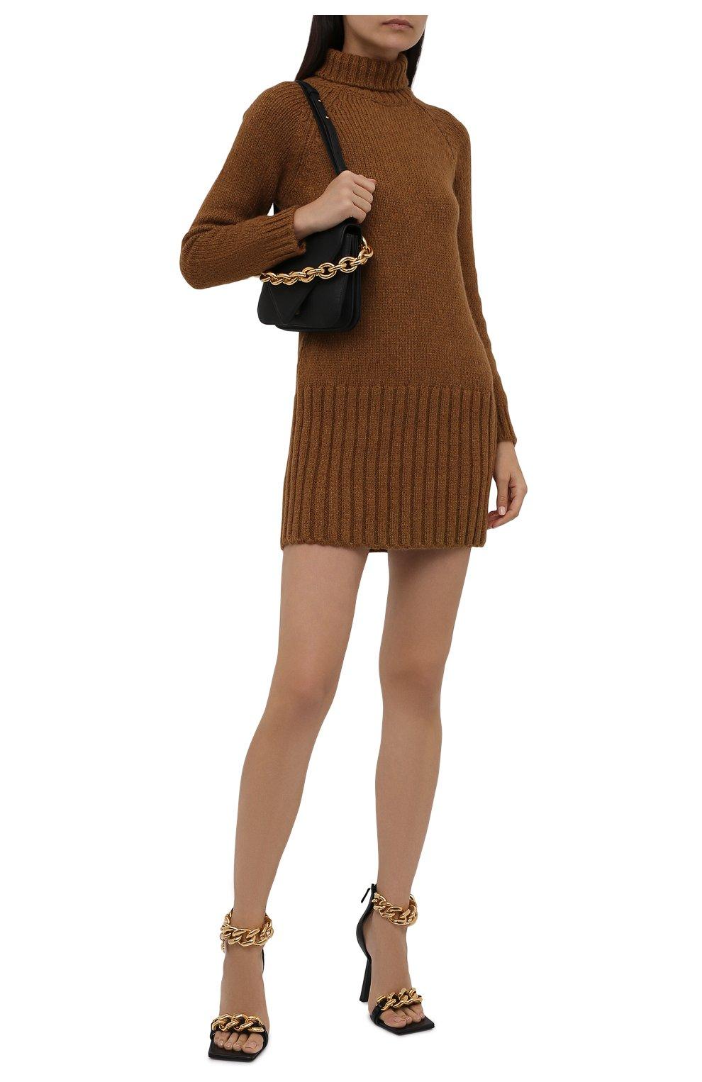 Женское шерстяное платье SAINT LAURENT коричневого цвета, арт. 669584/Y75BZ   Фото 2 (Материал внешний: Шерсть; Рукава: Длинные; Длина Ж (юбки, платья, шорты): Мини; Случай: Повседневный; Кросс-КТ: Трикотаж; Женское Кросс-КТ: Платье-одежда; Стили: Кэжуэл)