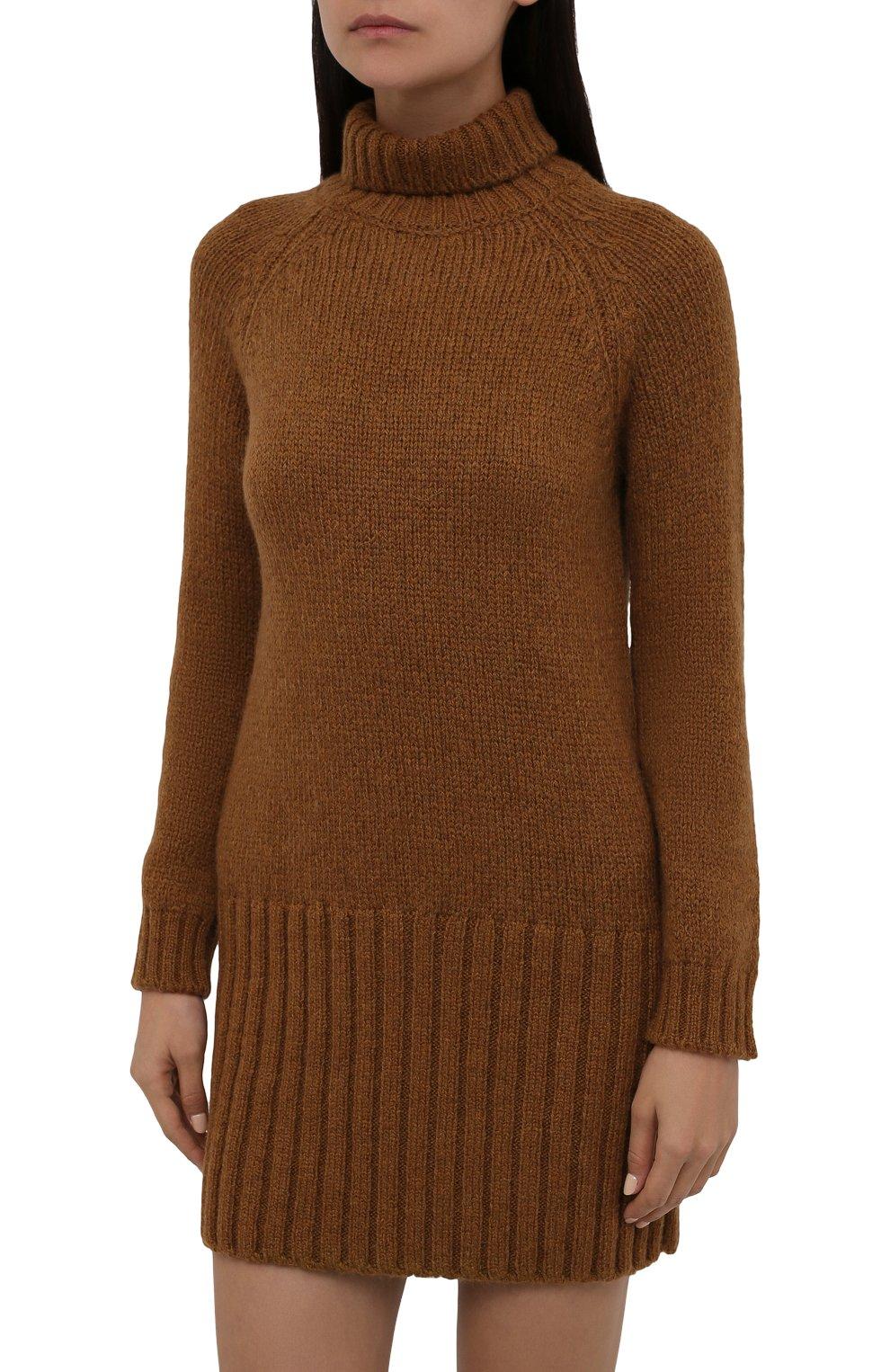 Женское шерстяное платье SAINT LAURENT коричневого цвета, арт. 669584/Y75BZ   Фото 3 (Материал внешний: Шерсть; Рукава: Длинные; Длина Ж (юбки, платья, шорты): Мини; Случай: Повседневный; Кросс-КТ: Трикотаж; Женское Кросс-КТ: Платье-одежда; Стили: Кэжуэл)