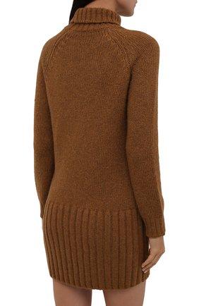 Женское шерстяное платье SAINT LAURENT коричневого цвета, арт. 669584/Y75BZ   Фото 4 (Материал внешний: Шерсть; Рукава: Длинные; Длина Ж (юбки, платья, шорты): Мини; Случай: Повседневный; Кросс-КТ: Трикотаж; Женское Кросс-КТ: Платье-одежда; Стили: Кэжуэл)