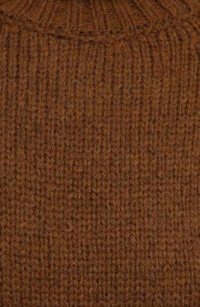 Женское шерстяное платье SAINT LAURENT коричневого цвета, арт. 669584/Y75BZ   Фото 5 (Материал внешний: Шерсть; Рукава: Длинные; Длина Ж (юбки, платья, шорты): Мини; Случай: Повседневный; Кросс-КТ: Трикотаж; Женское Кросс-КТ: Платье-одежда; Стили: Кэжуэл)