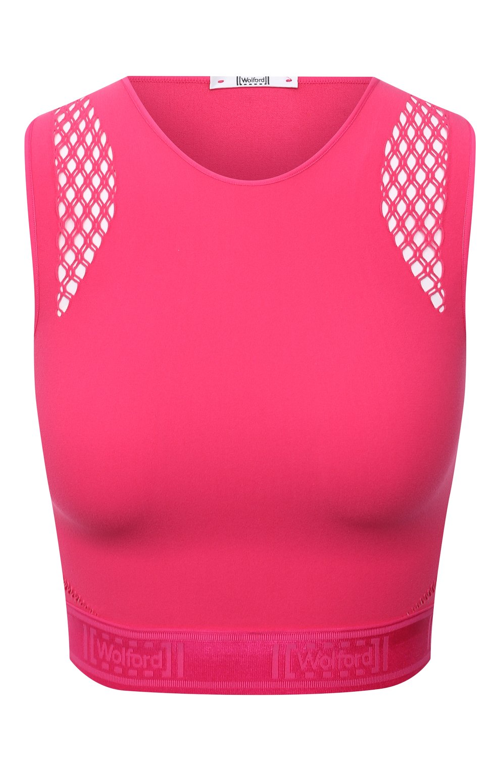 Женский топ WOLFORD розового цвета, арт. 52854 | Фото 1 (Женское Кросс-КТ: Топ-спорт; Материал внешний: Синтетический материал; Стили: Спорт-шик; Длина (для топов): Укороченные)