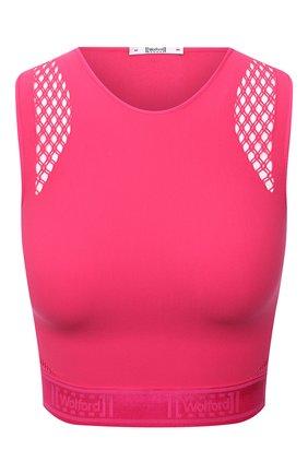 Женский топ WOLFORD розового цвета, арт. 52854 | Фото 1 (Материал внешний: Синтетический материал; Женское Кросс-КТ: Топ-спорт; Стили: Спорт-шик; Длина (для топов): Укороченные)