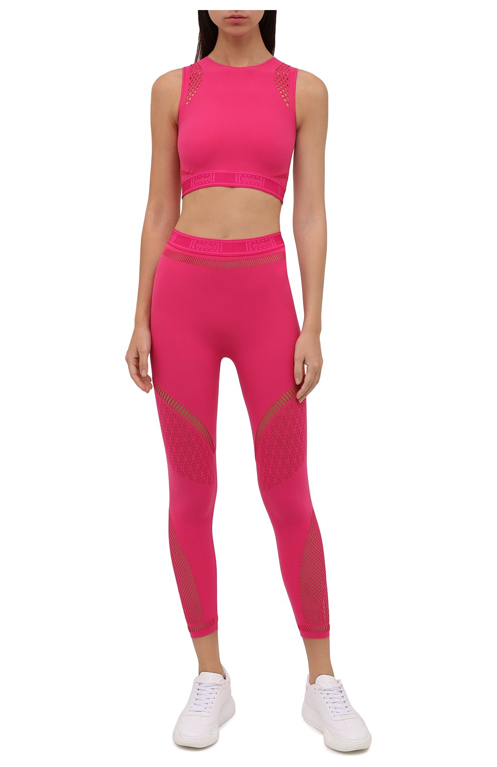Женский топ WOLFORD розового цвета, арт. 52854 | Фото 2 (Женское Кросс-КТ: Топ-спорт; Материал внешний: Синтетический материал; Стили: Спорт-шик; Длина (для топов): Укороченные)