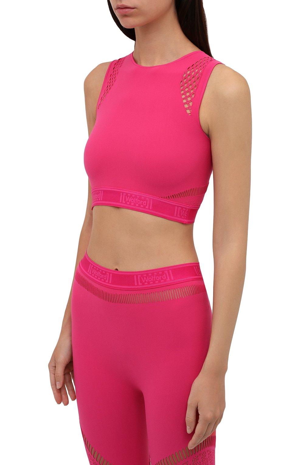 Женский топ WOLFORD розового цвета, арт. 52854 | Фото 3 (Женское Кросс-КТ: Топ-спорт; Материал внешний: Синтетический материал; Стили: Спорт-шик; Длина (для топов): Укороченные)
