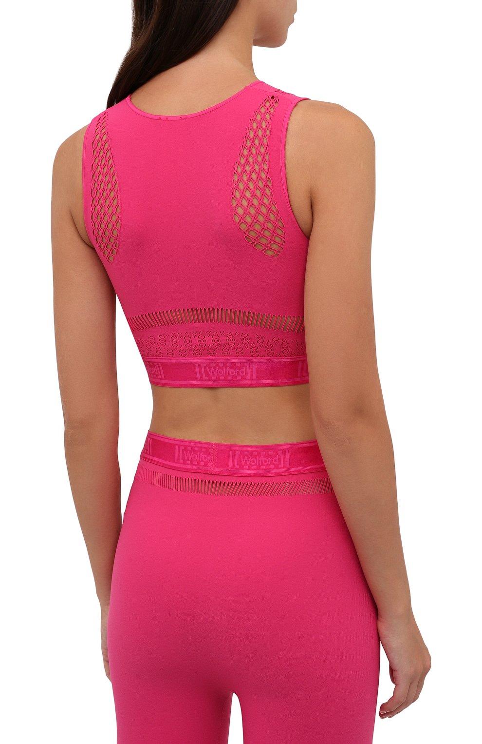 Женский топ WOLFORD розового цвета, арт. 52854 | Фото 4 (Женское Кросс-КТ: Топ-спорт; Материал внешний: Синтетический материал; Стили: Спорт-шик; Длина (для топов): Укороченные)