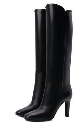 Женские кожаные сапоги jane SAINT LAURENT черного цвета, арт. 632636/1YU00 | Фото 1 (Материал внутренний: Натуральная кожа; Каблук тип: Устойчивый; Высота голенища: Высокие, Средние; Каблук высота: Высокий; Подошва: Плоская)
