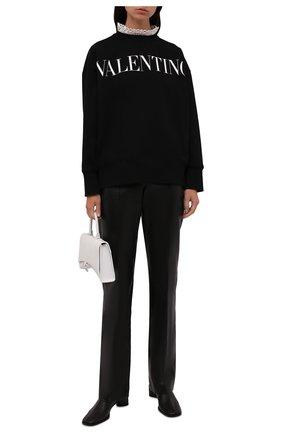 Женский хлопковый свитшот VALENTINO черного цвета, арт. WB0MF12V6PG   Фото 2 (Рукава: Длинные; Материал внешний: Хлопок; Длина (для топов): Стандартные; Женское Кросс-КТ: Свитшот-одежда; Стили: Романтичный)
