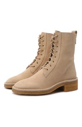 Женские замшевые ботинки edith CHLOÉ светло-бежевого цвета, арт. CHC21W540V5 | Фото 1 (Материал внутренний: Натуральная кожа; Каблук высота: Низкий; Подошва: Платформа; Женское Кросс-КТ: Военные ботинки; Материал внешний: Замша)