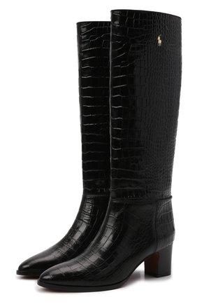Женские кожаные сапоги POLO RALPH LAUREN черного цвета, арт. 818846066 | Фото 1 (Каблук высота: Низкий; Подошва: Плоская; Материал внутренний: Натуральная кожа; Высота голенища: Средние; Каблук тип: Устойчивый)
