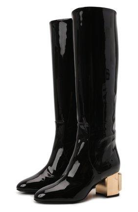 Женские комбинированные сапоги vally DOLCE & GABBANA черного цвета, арт. CU0767/AQ377 | Фото 1 (Высота голенища: Средние; Подошва: Плоская; Материал внутренний: Натуральная кожа; Материал внешний: Текстиль; Каблук высота: Средний; Каблук тип: Устойчивый)